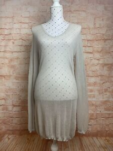 ALISTAIR THRUNG Dress Size L / 4 Taupe Grey Stretch Knit Casual Designer
