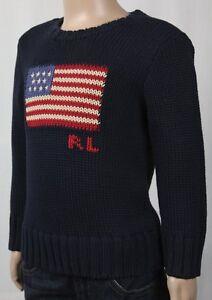 Children POLO Ralph Lauren Navy Blue American Flag Crewneck Sweater NWT $75