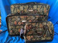 Retro Jordache 3pc Luggage Set Knit Linen Cloth Floral Suitcase Bag VTG Carry-On