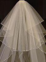 Bridal Veil  #Wedding Veil  2T Shoulder - Cathedral Veil Pearl Crystal edge veil