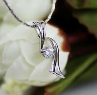 White Gold gp Round Cut lab Diamond Elegance Peace Party Pendant Necklace