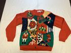 Vtg Appleseed's Womens M Hand Knit Red Cardigan Sweater Christmas Rare Ugly