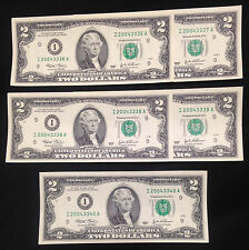 FIVE Two $2 Dollar Bills, Cool Sequential 2004 Serial Nums, Uncirculated, FRB I