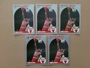 1990/91 NBA Hoops Michael Jordan #65. Lot of 5 cards.