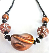 Brown Chunky Big Handmade Beads Unisex African Shell Coral Onyx Choker Natural