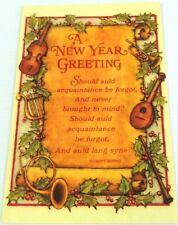 NEW YEARS GREETING Auld Lang Syne Vintage Hallmark Greeting Card w/ Envelope
