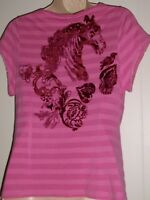 Oilily  Women's M Pink Flocked Horse And Flowers On Back S Sleeve Stretch Top