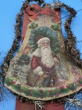 Antique Victorian Tinsel Wrapped Diecut Paper Santa Christmas Tree Ornament