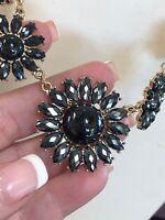 "Vintage Black Necklace Gold Bib  statement Faceted Flower cabochons Lucite 16"""