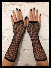 Fingerlose NETZHANDSCHUHE (schwarz) - Gothic Fishnet Armstulpen