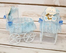 12 PC Fillable Baby Shower Blue Wire Carriage Favor Box Table Decoration Boy