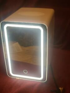 Personal Chiller LED Lighted Mini Fridge with Mirror Door Chill or Warm - White