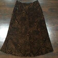 Ralph Lauren Brown Velvet Paisley Maxi Skirt Petites Rayon Silk Women's Size 8P