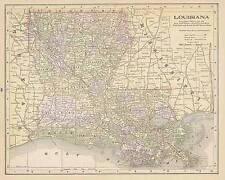 1890  ANTIQUE LOUISIANA color  map original authentic