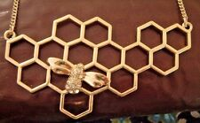 BIG GOLD HONEYCOMB NECKLACE BUMBLEBEE RHINESTONE HONEY BEE INSECT