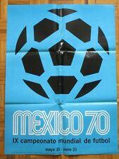 1970 MEXICO IX SOCCER WORLD CUP FOOTBALL FUTBOL ORIGINAL MEXICAN POSTER BLUE