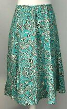 Rafaella Flared Skirt Teal White Floral 100% Linen Size 6