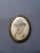 Vintage spindle pictures ancien broche porte photos avec verre bombé art nouveau