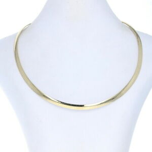 """Yellow Gold Reversible Omega Chain Necklace 17 1/4"""" - 14k Italy"""
