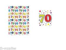 AGE BIRTHDAY 70 70TH SEVENTY WRAPPING PAPER 2 SHEETS GIFTWRAP+  TAGS 50*70CM