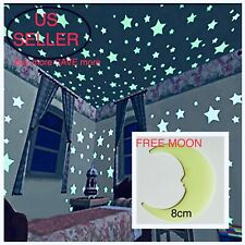 40-200Pcs Stars Glow In The Dark Stickers Wall Decal Kids Baby Bedroom FREE MOON