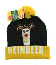 Wembley Mens Multi Color Christmas Reindeer Light Up Beanie Winter Hat One Size