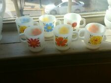 6 Vintage Fire King Pretty Flower Coffee McDonalds Mugs