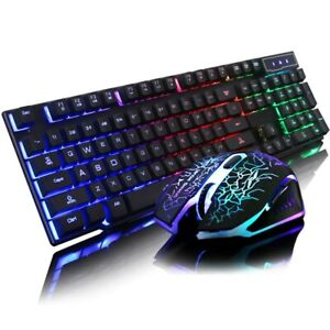 Keyboard Backlit Gaming Led Mouse Mechanical Computer Desktop Wired Light Rgb PC