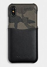 NWT!! GIFT BOXED COACH iPHONE X/XS CASE CANVAS & LEATHER GREEN CAMO F76855