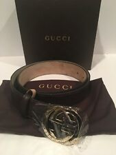NEW GUCCI GUCCISSIMA BROWN LEATHER INTERLOCKING GG WOMENS BUCKLE BELT 90/36