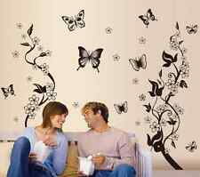 Black Butterfly Flower Branches Wall Decals Sticker Paper Mural Home Art Decor