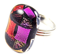 "Dichroic Glass RING Adjustable Orange Pink Fuchsia Striped Silver Band 3/4"" 18mm"