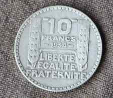 Monnaie France pièce 10 francs ARGENT Turin 1934 Silver coin 2 Rameaux long