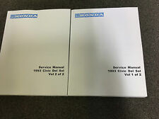 1993 HONDA CIVIC DEL SOL Service Shop Repair Manual 93 FACTORY DEALERSHIP NEW