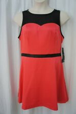 Kensie Dress Sz 14 Beach Coral Pink Black Sheer Neckline Cocktail Party Dress