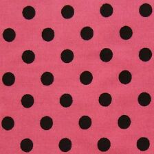 "Pink 100% Cotton 1/4"" Black Polka Dot Spot Fabric P/Mtr"