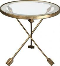 Round IRON Glass End Table ARROW Tripod Gold Mirror NEIMAN MARCUS Accent Metal
