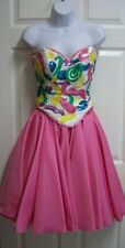 JULIE DUROCHE PINK SWEETHEART SEQUIN STRAPLESS BUSTIER & FULL SKIRT PROM DRESS 6
