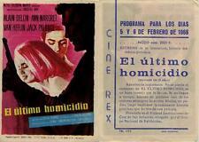 Programa PUBLICITARIO de CINE: El último homicidio. Alain DELON, Ann MARGRET.