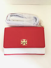 Tory Burch Mercer Chain Wallet In Pebbled Leather Vermillion Red 34037 $285