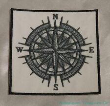 Embroidered Gray Mariner's Compass Navigation Nautical Ocean White Patch Iron On