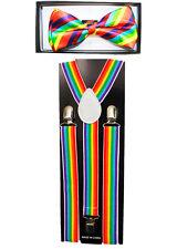 Rainbow Colors SUSPENDERS and BOW TIE COMBO SET Unisex Adjustable Suspender