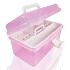 NEW Two Layer Pink Plastic Storage Boxes Home Office Organiser Manicure Kit Box