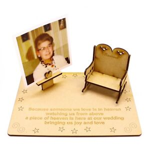 MDF wood Personalised Wedding Memorial Chair for absent guests with photo holder