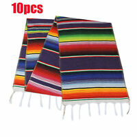 10pcs Mexican Serape Tablecloth Table Runner Blanket Party Decor Fringe Cotton