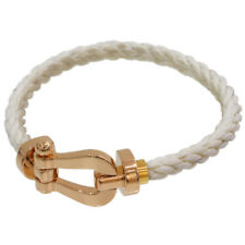 FRED Force 10 White Cord Bracelet Size 14 18K Rose Gold & Stainless Steel D5920