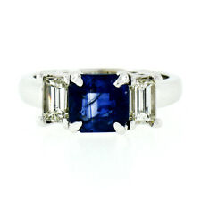 New 14K Gold 3.42ctw GIA Radiant Sapphire & Baguette Diamond 3 Three Stone Ring
