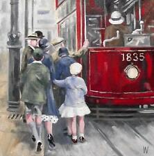 """Day out on the Tram :  Nostalgic Original Oil Painting  Wendy Warwick 8"""" X 8"""""""