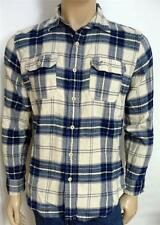America Eagle Outfitters AEO Flannel Mens Ivory Plaid Button Up Shirt NWT XS