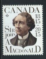 """Canada #2804(1) 2015 """"P"""" 92 cent SIR JOHN A. MACDONALD - 1st PRIME MINISTER MNH"""